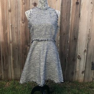 Zara Striped Fit & Flare Frayed Dress Size L